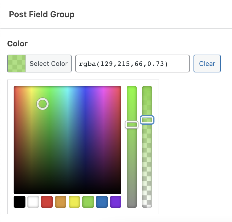 Custom field with color picker opacity